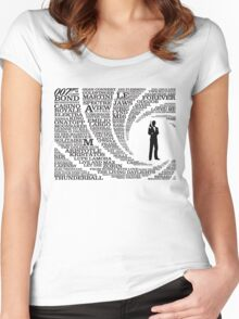 Iconic James Bond Typography Art Women's Fitted Scoop T-Shirt