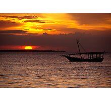 Zanzibar Dhow Sunset Photographic Print