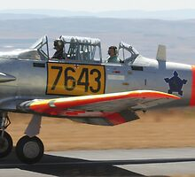 North American T6/Harvard #7643 Take-off by Paul Lindenberg