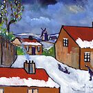Dutch village snowscene by sword