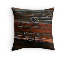 Row boats in the Rain Throw Pillow