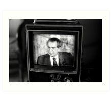Richard Nixon resigning on TV Art Print
