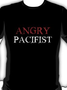 Angry Pacifist - Red And White Ink T-Shirt