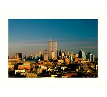 World Trade Center seen from New Jersey Turnpike. Mid 1980's. Art Print