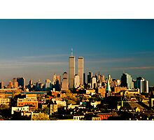 World Trade Center seen from New Jersey Turnpike. Mid 1980's. Photographic Print