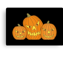 Creepy Jack-o-Lantern Trio Canvas Print