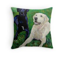 Best Buddies - Portrait of Max and Boyd Throw Pillow
