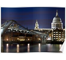 St Pauls Cathedral and Millenium bridge at night Poster