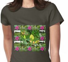 Hyde Hall Collage Featuring Wild Rose and Irises Womens Fitted T-Shirt