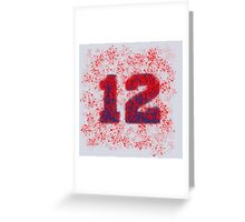 Abstract Twelve Team Spirit - Blue On Red Greeting Card