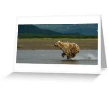 Bear On The Run Greeting Card