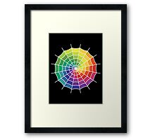 Spider Web - Color Spectrum Shift White Framed Print