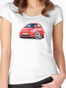 New Fiat 500 Red Women's Fitted Scoop T-Shirt