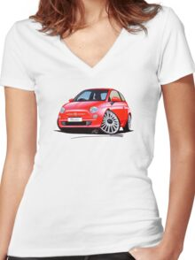 New Fiat 500 Red Women's Fitted V-Neck T-Shirt