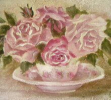 pink cup and saucer roses by Chris Hobel