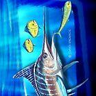 Striped Marlin & Dolphin fish by David Pearce