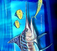 Striped Marlin & Dolphin fish by David Pearce