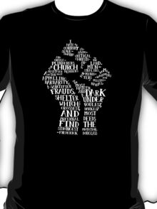 Raised Fist quote-cloud (white) by Tai's Tees T-Shirt