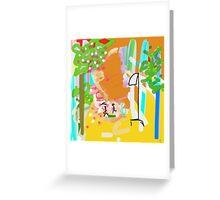 YELLOW, ORANGE, GREEN abstract garden Greeting Card