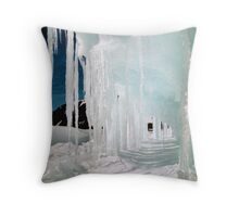 Ice Cave in Blue & White Throw Pillow