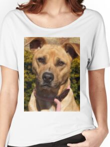 Handsome Pit Bull  Mix Women's Relaxed Fit T-Shirt