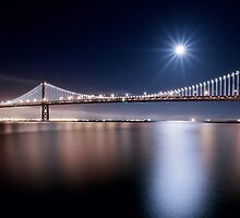 Supermoon over San Francisco Bay Bridge by heyengel