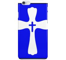 Blue and White Double Cross Stamp Design iPhone Case/Skin