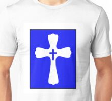 Blue and White Double Cross Stamp Design Unisex T-Shirt