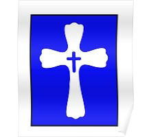 Blue and White Double Cross Stamp Design Poster