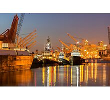 Seattle Shipping Terminal At Night Photographic Print