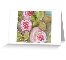 three rose blooms 'for the love of flowers' © 2007 patricia vannucci  Greeting Card