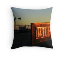 Wilber sign under the setting sun Throw Pillow