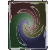 Abstract Four Color Blue Green Maroon Spiral Swirl Design iPad Case/Skin