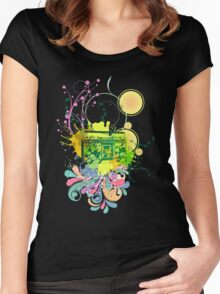 Retro Abstract Radio Women's Fitted Scoop T-Shirt