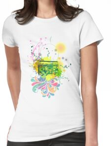 Retro Abstract Radio Womens Fitted T-Shirt