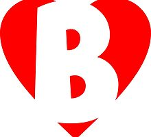 I love B - Heart B - Heart with letter B by theshirtshops