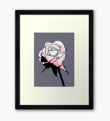 Pink Rosebud Cartoon Framed Print