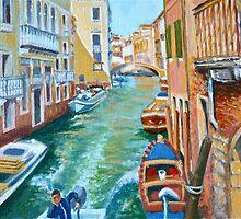 Venetian Commuter on a sunny canal by Dai Wynn