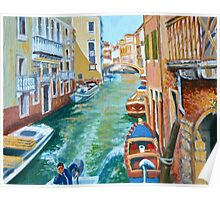 Venetian Commuter on a sunny canal Poster