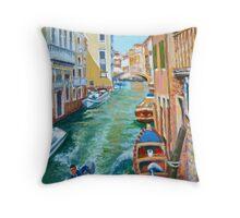 Venetian Commuter on a sunny canal Throw Pillow