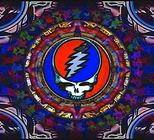 Grateful Dead Steal Your Face Skull / Jerry Garcia's Dancing Bears Tapestry Psychedelic Hippie Band Poster by capartwork