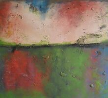 Abstract painting neon-colors - green red white landscape canvas art ' Pandora Place' ,47x37inches - free shipping by Veronica  Vilsan