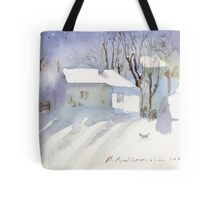 Village house covered in snow Tote Bag
