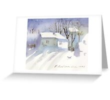 Village house covered in snow Greeting Card