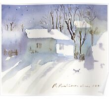Village house covered in snow Poster