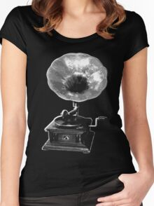 gramophone t-shirt on dark Women's Fitted Scoop T-Shirt