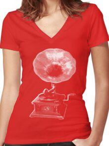 gramophone t-shirt on dark Women's Fitted V-Neck T-Shirt