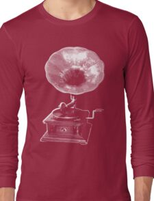 gramophone t-shirt on dark Long Sleeve T-Shirt