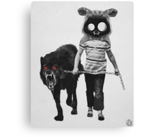 out for a walk (black and white) Canvas Print