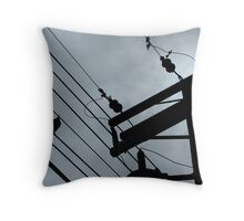 Crow on Hydro Wire Throw Pillow